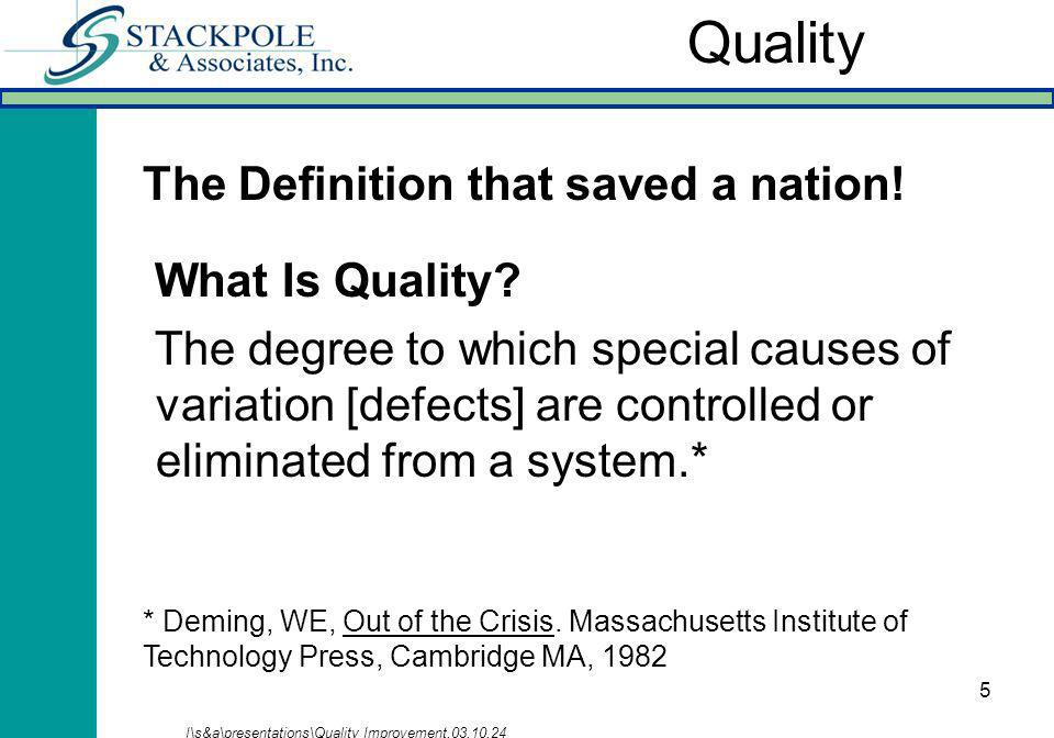 5 What Is Quality? The degree to which special causes of variation [defects] are controlled or eliminated from a system.* I\s&a\presentations\Quality