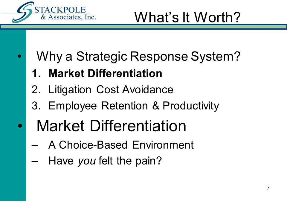 7 Whats It Worth? Why a Strategic Response System? 1.Market Differentiation 2.Litigation Cost Avoidance 3.Employee Retention & Productivity Market Dif