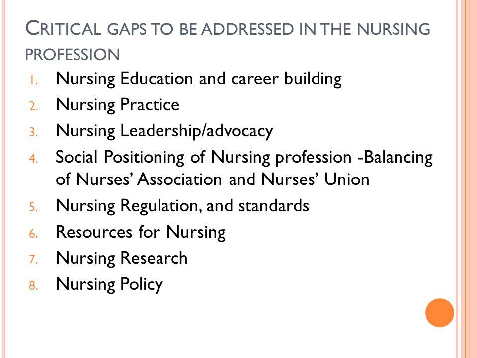 C RITICAL GAPS TO BE ADDRESSED IN THE NURSING PROFESSION 1. Nursing Education and career building 2. Nursing Practice 3. Nursing Leadership/advocacy 4