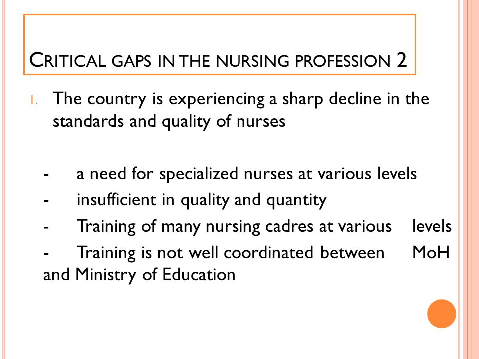 C RITICAL GAPS IN THE NURSING PROFESSION 2 1. The country is experiencing a sharp decline in the standards and quality of nurses -a need for specializ