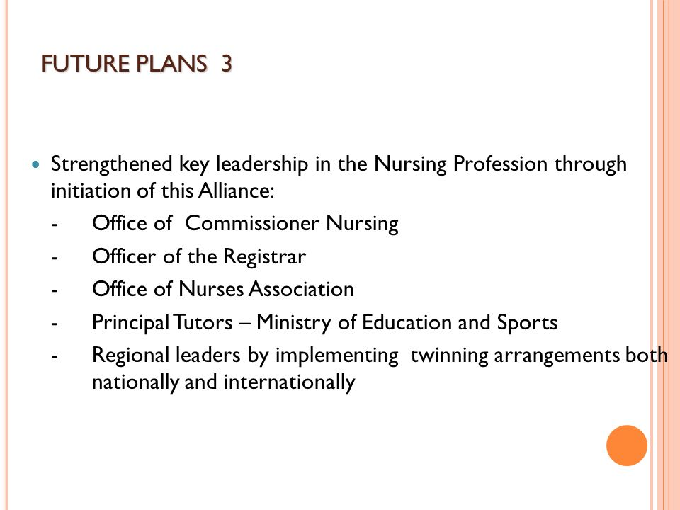 Strengthened key leadership in the Nursing Profession through initiation of this Alliance: -Office of Commissioner Nursing -Officer of the Registrar -