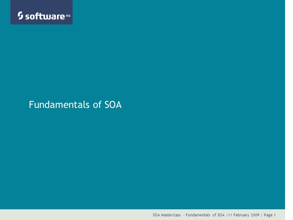 SOA Masterclass - Fundamentals of SOA |11 February 2009 | Page 12 SOA Defined: Part Three Service Oriented Architecture is a paradigm for organizing and utilizing distributed capabilities that may be under the control of different ownership domains.
