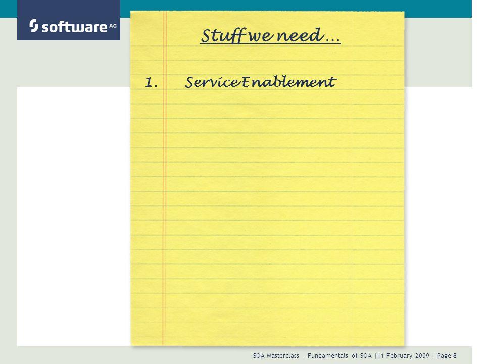 SOA Masterclass - Fundamentals of SOA |11 February 2009 | Page 19 Stuff we need … 1.