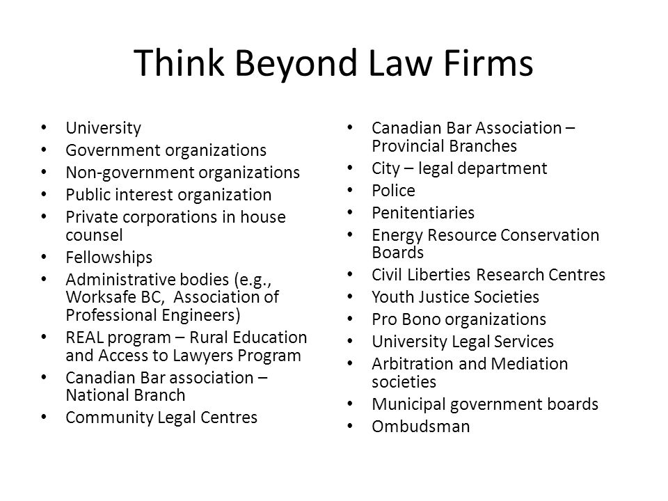 Think Beyond Law Firms University Government organizations Non-government organizations Public interest organization Private corporations in house cou