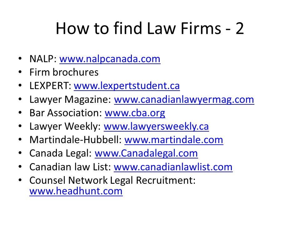 How to find Law Firms - 2 NALP: www.nalpcanada.comwww.nalpcanada.com Firm brochures LEXPERT: www.lexpertstudent.cawww.lexpertstudent.ca Lawyer Magazin