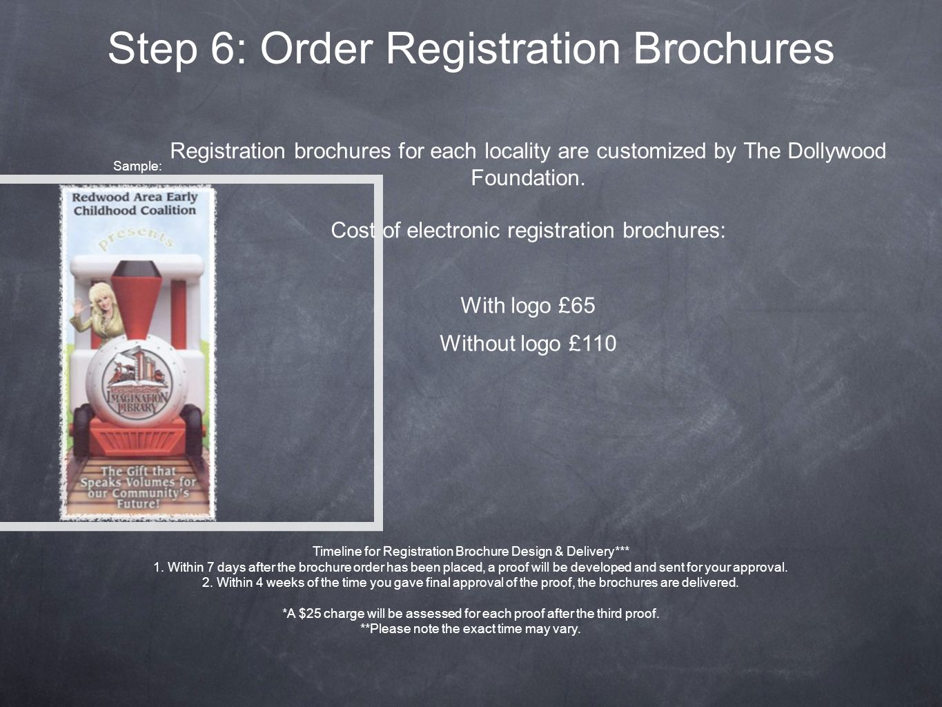 Step 6: Order Registration Brochures Registration brochures for each locality are customized by The Dollywood Foundation.
