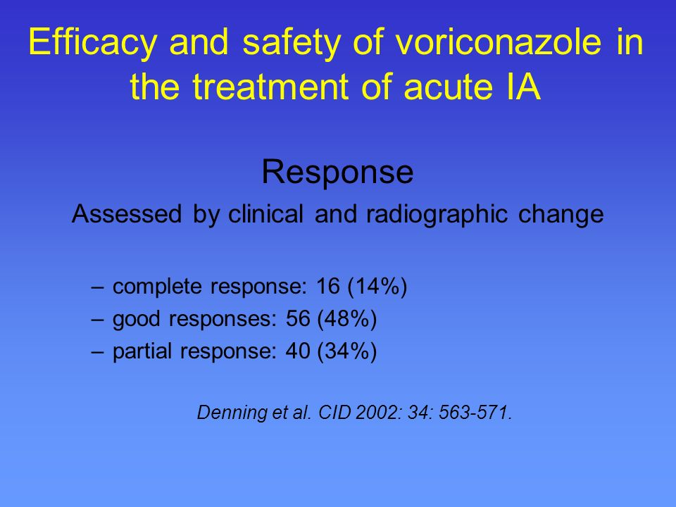 Efficacy and safety of voriconazole in the treatment of acute IA Study overview Open, multicentre study 116 patients –proven IA 48 (41%) –probable 68 –voriconazole: as primary therapy 60 (52%) Denning et al.