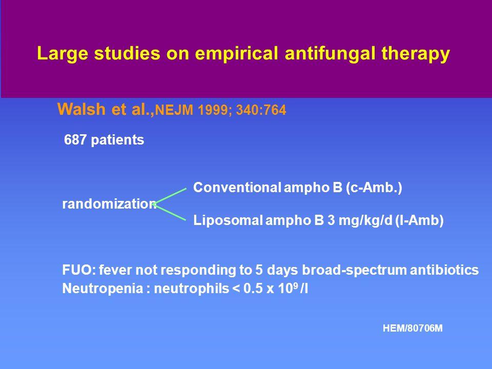 Toxicity Severe drug-related :c-Amb :12% I-Amb :1 % Nephrotoxicity:double S-crea:c-Amb:23% I-Amb3:3% I-Amb1 :0% H.G. Prentice et al., BJH 1997; 98:711