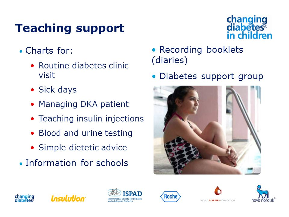 Teaching support Charts for: Routine diabetes clinic visit Sick days Managing DKA patient Teaching insulin injections Blood and urine testing Simple d