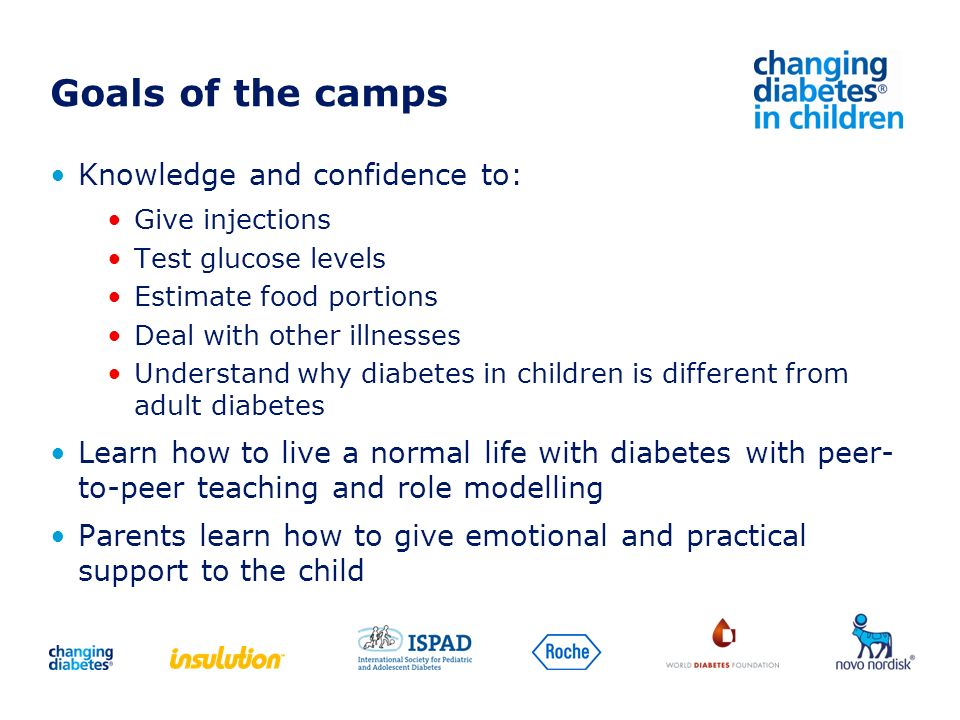 Goals of the camps Knowledge and confidence to: Give injections Test glucose levels Estimate food portions Deal with other illnesses Understand why di