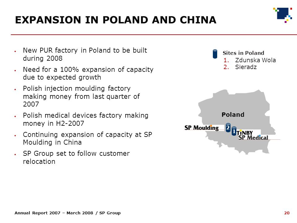 20 Annual Report 2007 – March 2008 / SP Group EXPANSION IN POLAND AND CHINA New PUR factory in Poland to be built during 2008 Need for a 100% expansion of capacity due to expected growth Polish injection moulding factory making money from last quarter of 2007 Polish medical devices factory making money in H2-2007 Continuing expansion of capacity at SP Moulding in China SP Group set to follow customer relocation Sites in Poland 1.Zdunska Wola 2.Sieradz Poland 1 2