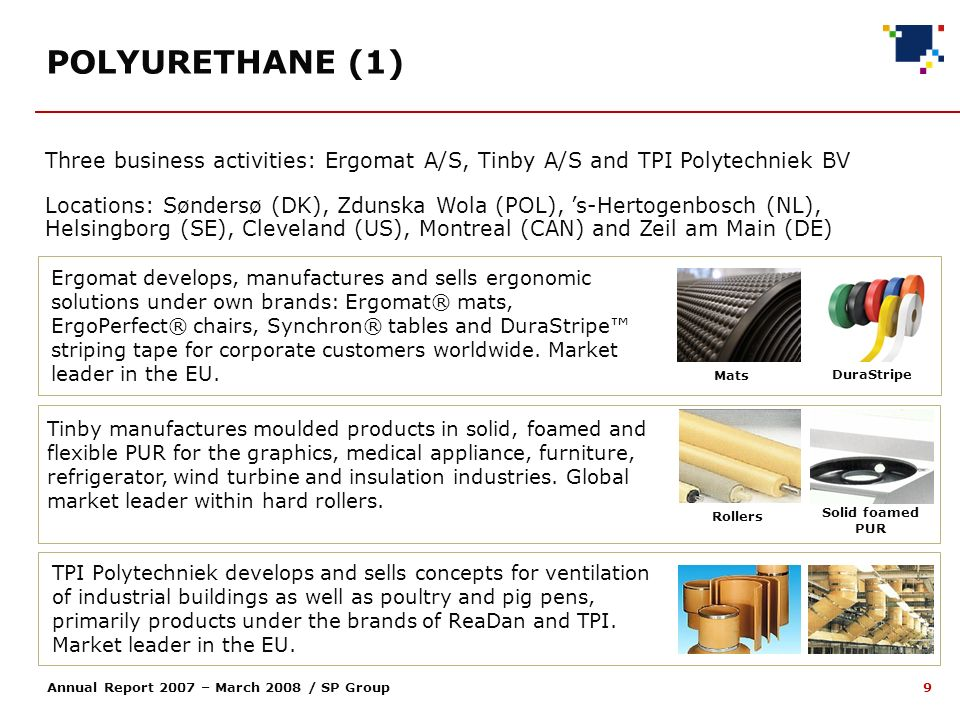 9 Annual Report 2007 – March 2008 / SP Group Three business activities: Ergomat A/S, Tinby A/S and TPI Polytechniek BV Locations: Søndersø (DK), Zdunska Wola (POL), s-Hertogenbosch (NL), Helsingborg (SE), Cleveland (US), Montreal (CAN) and Zeil am Main (DE) Rollers Solid foamed PUR TPI Polytechniek develops and sells concepts for ventilation of industrial buildings as well as poultry and pig pens, primarily products under the brands of ReaDan and TPI.
