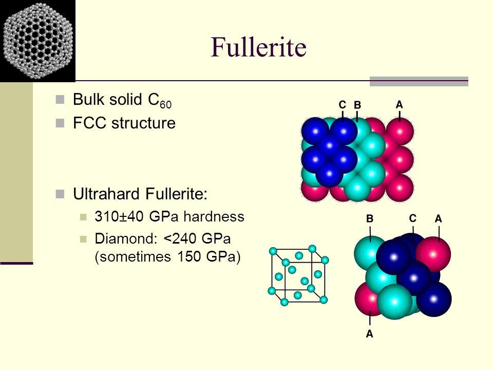 Fullerite Bulk solid C 60 FCC structure Ultrahard Fullerite: 310±40 GPa hardness Diamond: <240 GPa (sometimes 150 GPa)
