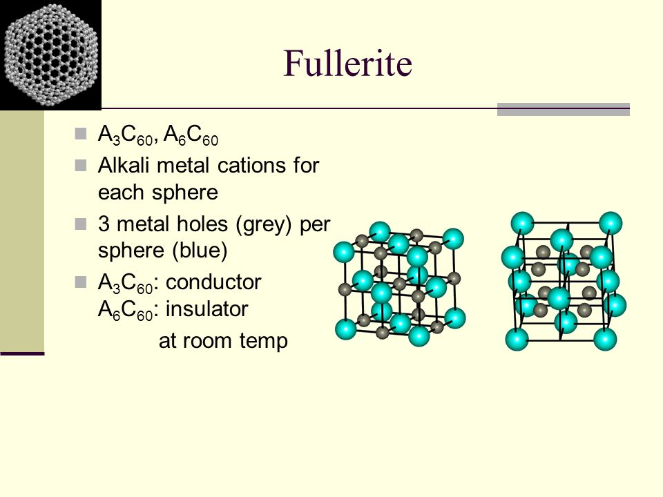 Fullerite A 3 C 60, A 6 C 60 Alkali metal cations for each sphere 3 metal holes (grey) per sphere (blue) A 3 C 60 : conductor A 6 C 60 : insulator at