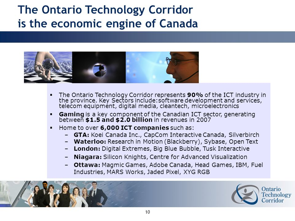 10 The Ontario Technology Corridor represents 90% of the ICT industry in the province.
