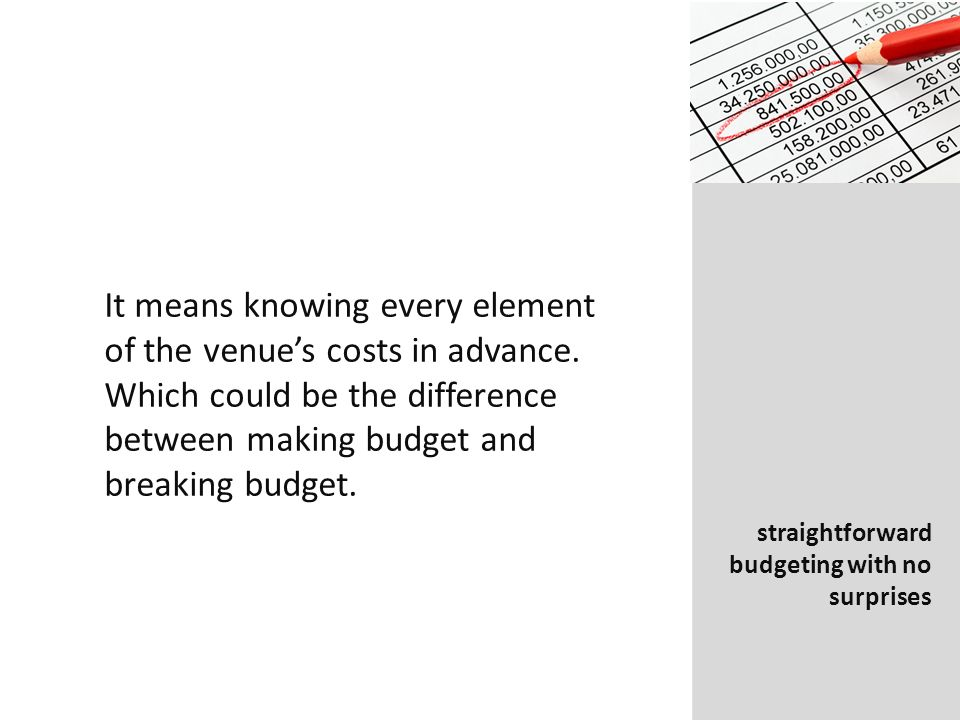 It means knowing every element of the venues costs in advance.