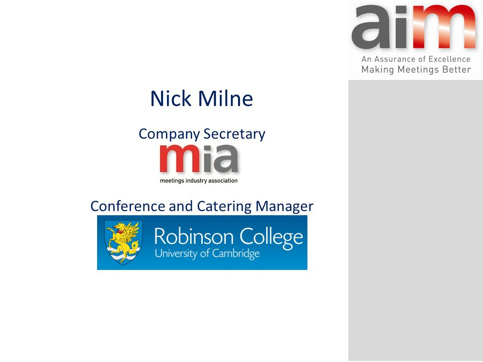 Nick Milne Company Secretary Conference and Catering Manager