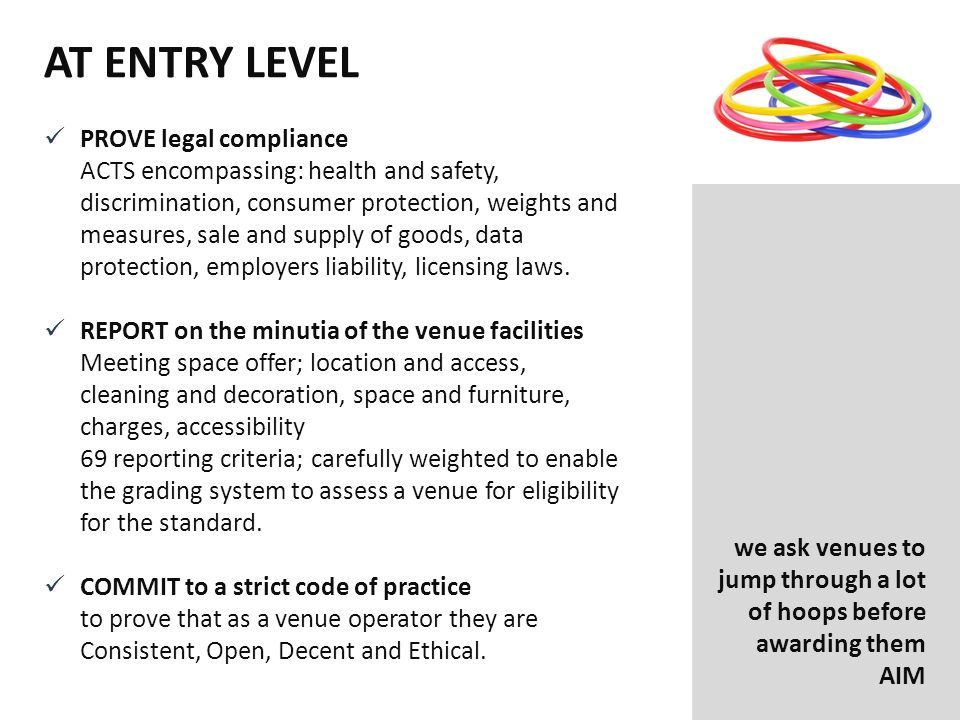AT ENTRY LEVEL PROVE legal compliance ACTS encompassing: health and safety, discrimination, consumer protection, weights and measures, sale and supply of goods, data protection, employers liability, licensing laws.