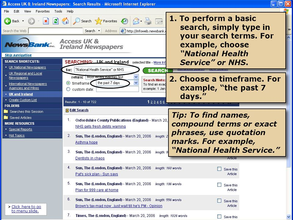 1. To perform a basic search, simply type in your search terms.