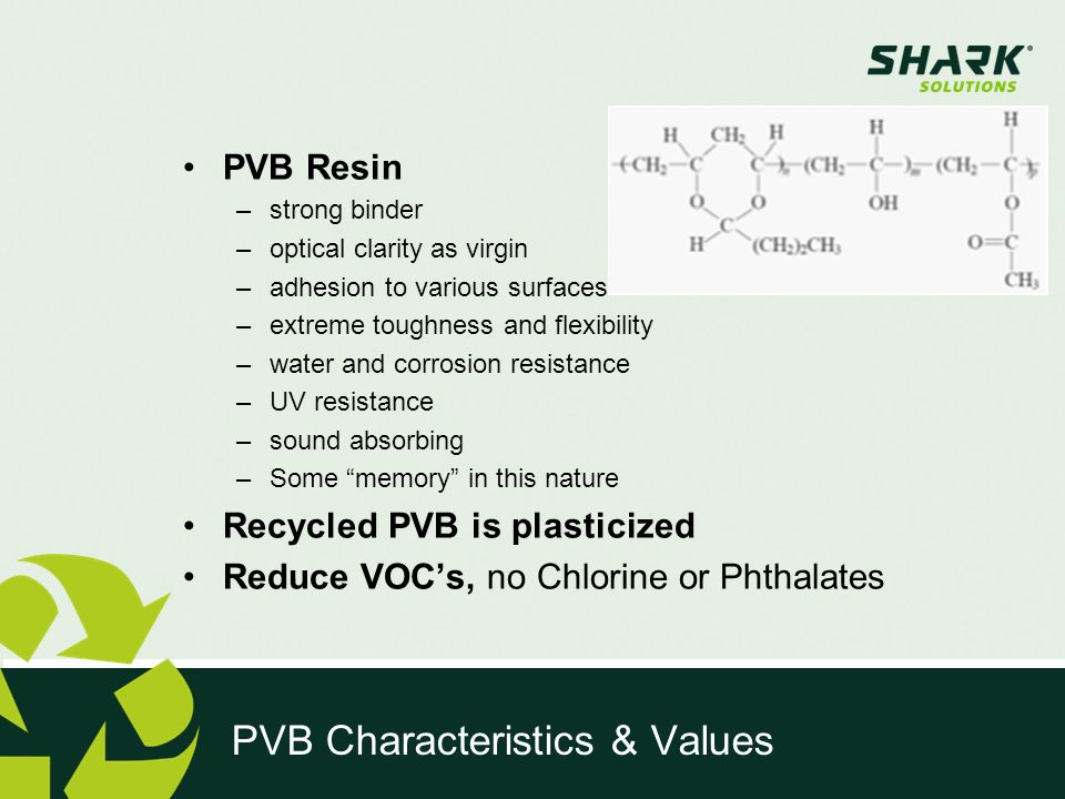 Shark has developed numerous applications for PVB – substituting different raw materials and thus making the business case stable to changing market conditions.