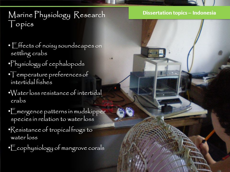 Marine Physiology Research Topics Effects of noisy soundscapes on settling crabs Physiology of cephalopods Temperature preferences of intertidal fishe
