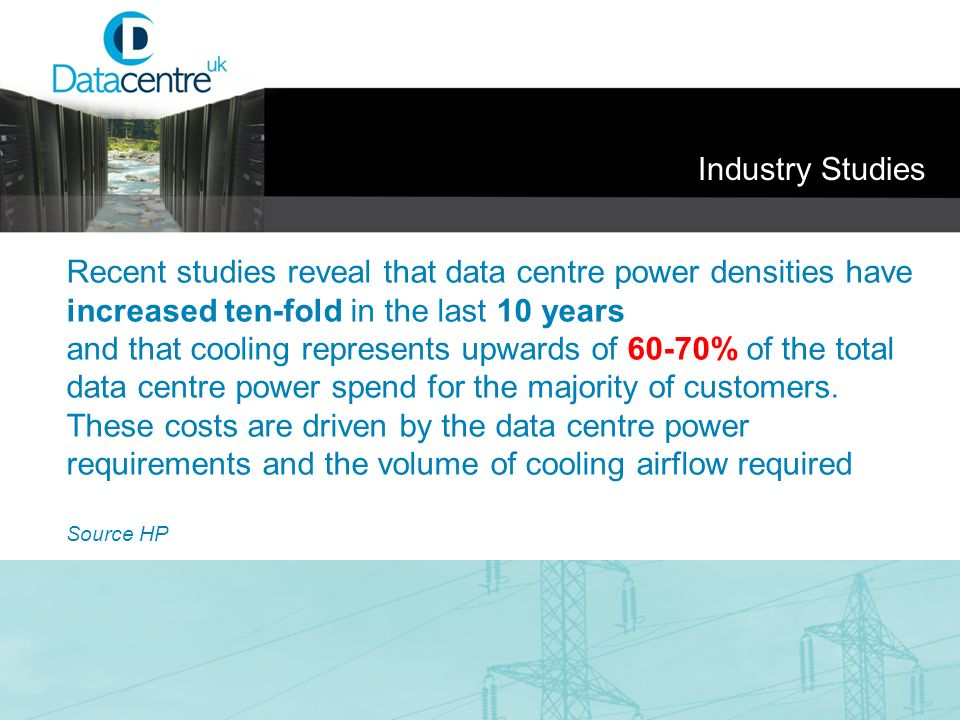 Recent studies reveal that data centre power densities have increased ten-fold in the last 10 years and that cooling represents upwards of 60-70% of t
