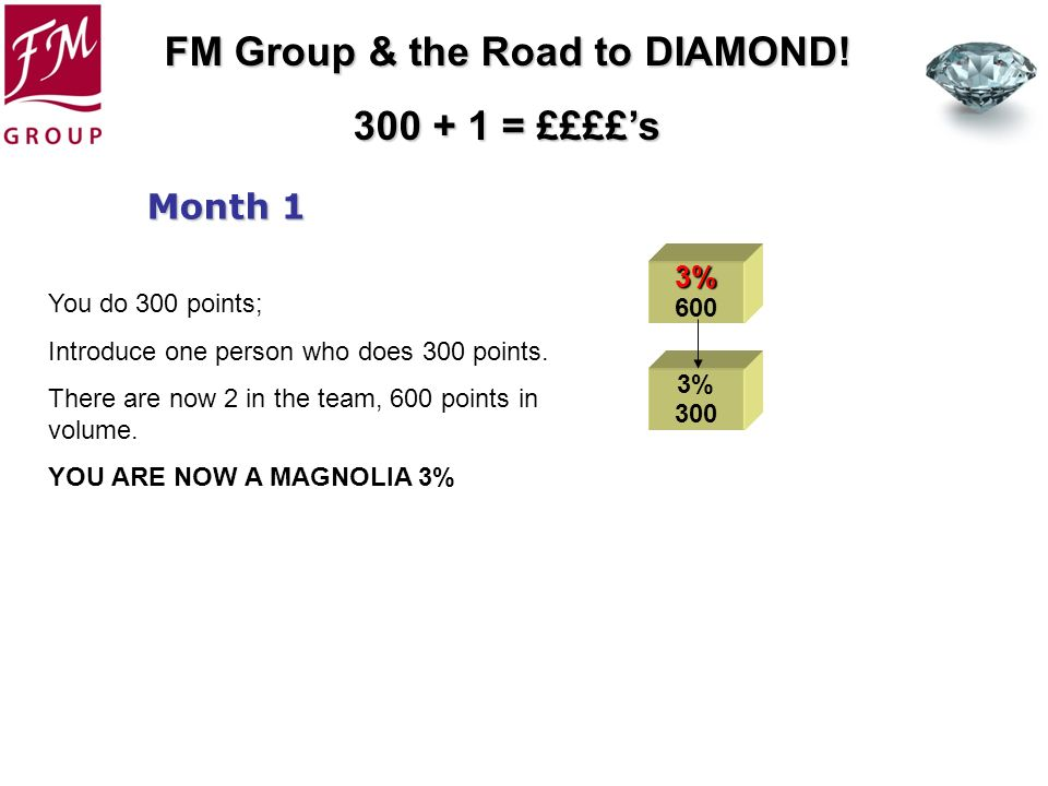 FM Group & the Road to DIAMOND! 300 + 1 = ££££s 3% 600 3% 300 Month 1 You do 300 points; Introduce one person who does 300 points. There are now 2 in