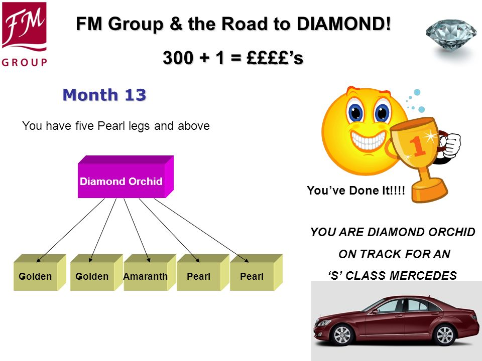 FM Group & the Road to DIAMOND! 300 + 1 = ££££s Month 13 Youve Done It!!!! Golden Diamond Orchid AmaranthPearl You have five Pearl legs and above YOU