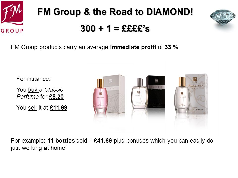 FM Group & the Road to DIAMOND! 300 + 1 = ££££s FM Group products carry an average immediate profit of 33 % For example: 11 bottles sold = £41.69 plus