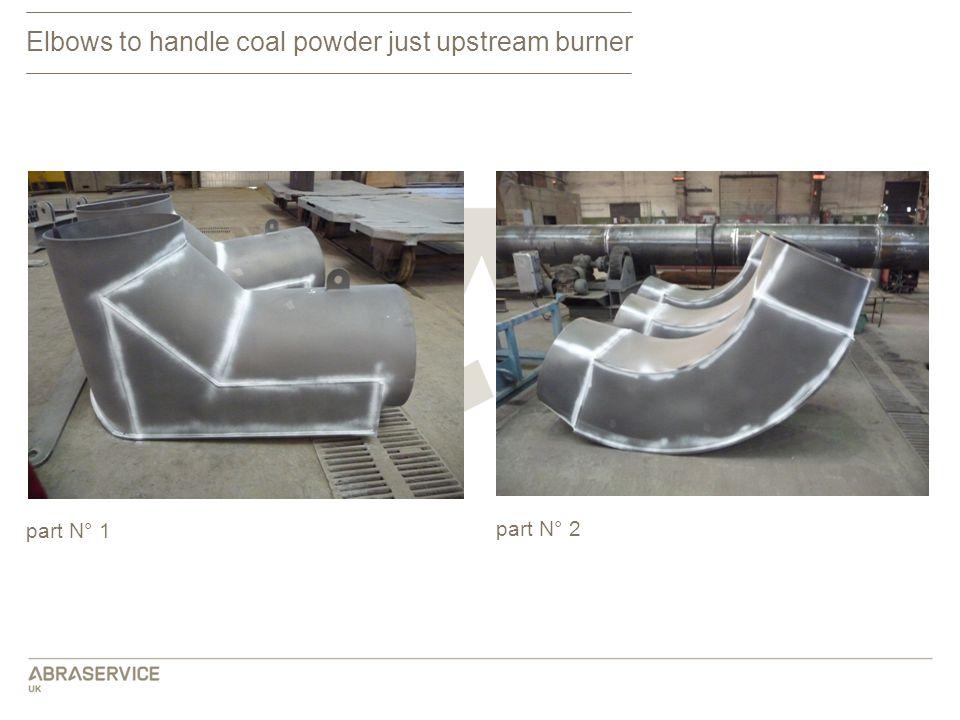 Elbows to handle coal powder just upstream burner part N° 1 part N° 2