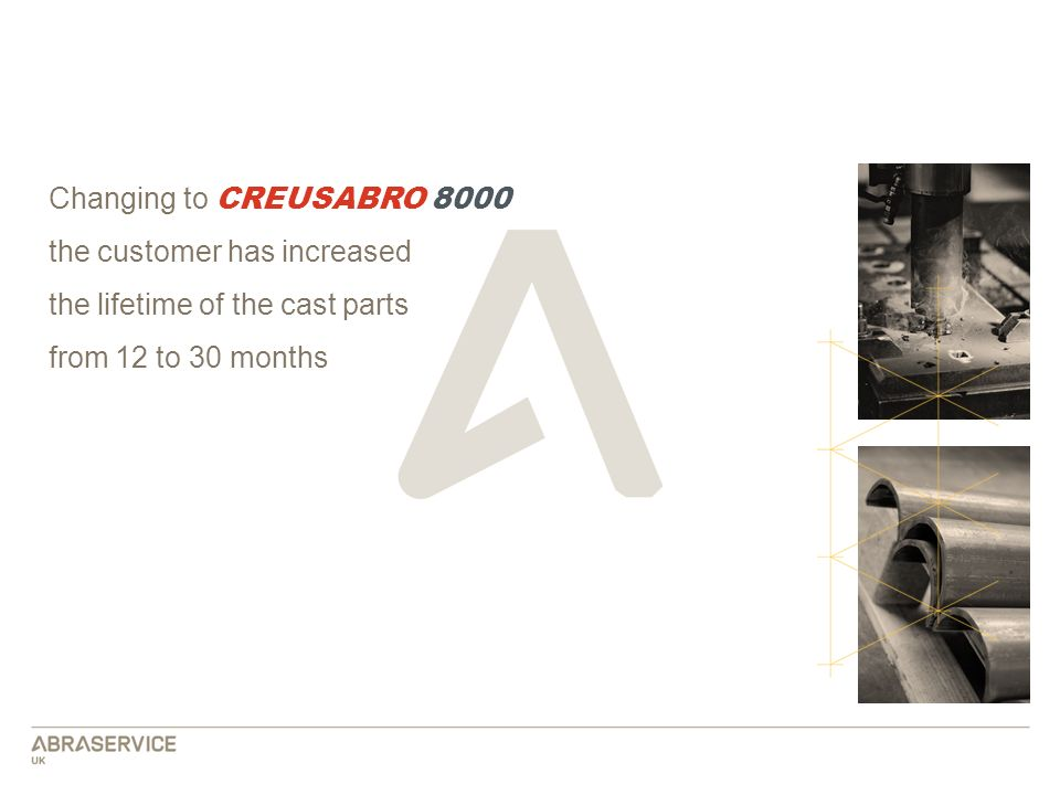 Changing to CREUSABRO 8000 the customer has increased the lifetime of the cast parts from 12 to 30 months