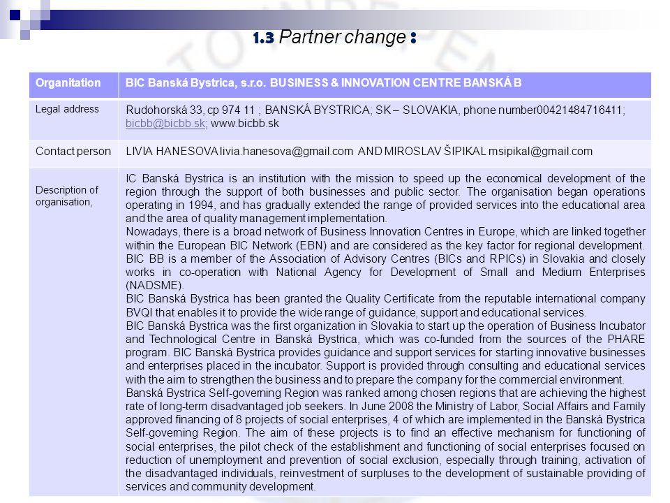 1.3 Partner change : 6 OrganitationBIC Banská Bystrica, s.r.o. BUSINESS & INNOVATION CENTRE BANSKÁ B Legal address Rudohorská 33, cp 974 11 ; BANSKÁ B