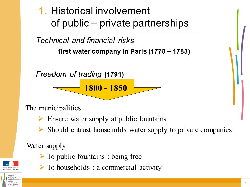 3 3 Technical and financial risks first water company in Paris (1778 – 1788) Freedom of trading (1791) public-private partnerships in France Water supply To public fountains : being free To households : a commercial activity The municipalities Ensure water supply at public fountains Should entrust households water supply to private companies 1800 - 1850 1.Historical involvement of public – private partnerships