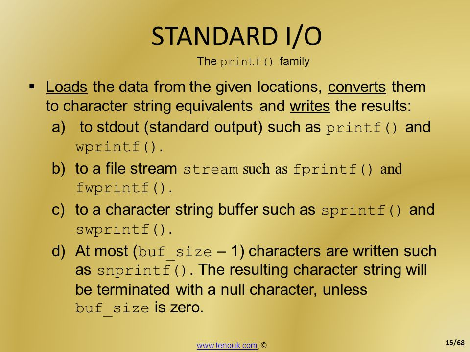 Loads the data from the given locations, converts them to character string equivalents and writes the results: a) to stdout (standard output) such as