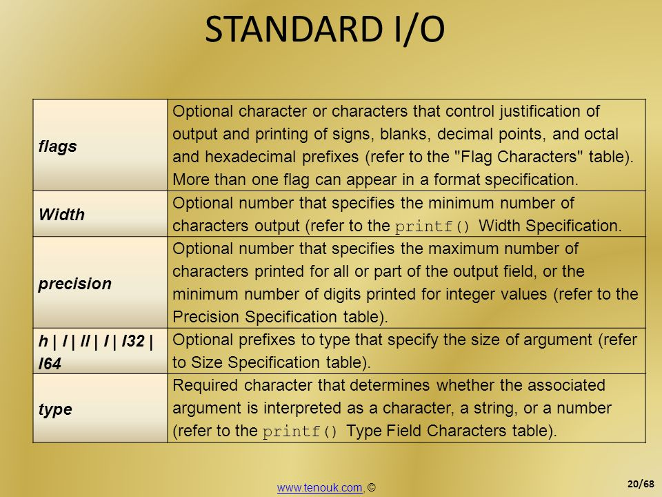 STANDARD I/O flags Optional character or characters that control justification of output and printing of signs, blanks, decimal points, and octal and