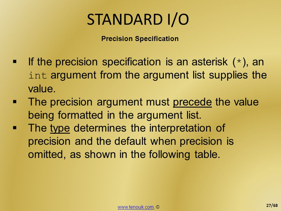 STANDARD I/O Precision Specification If the precision specification is an asterisk ( * ), an int argument from the argument list supplies the value. T
