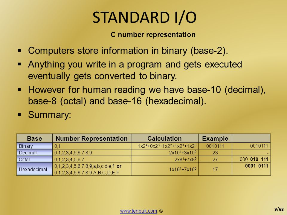 Computers store information in binary (base-2). Anything you write in a program and gets executed eventually gets converted to binary. However for hum