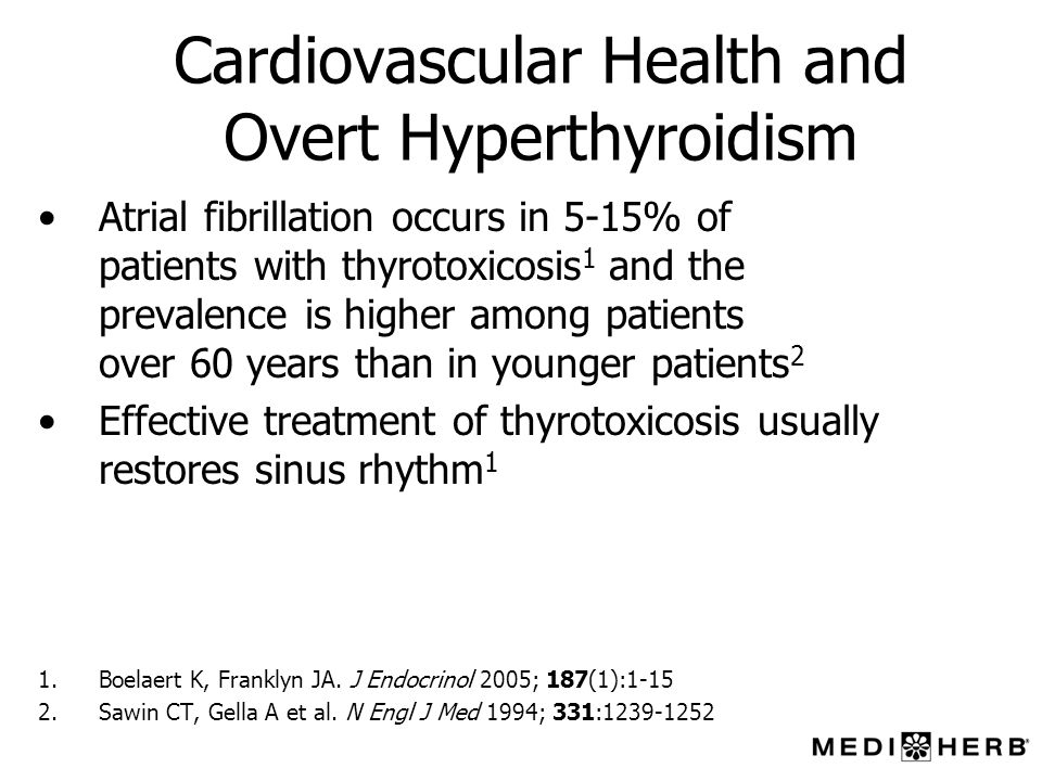 Cardiovascular Health and Overt Hyperthyroidism Atrial fibrillation occurs in 5-15% of patients with thyrotoxicosis 1 and the prevalence is higher amo