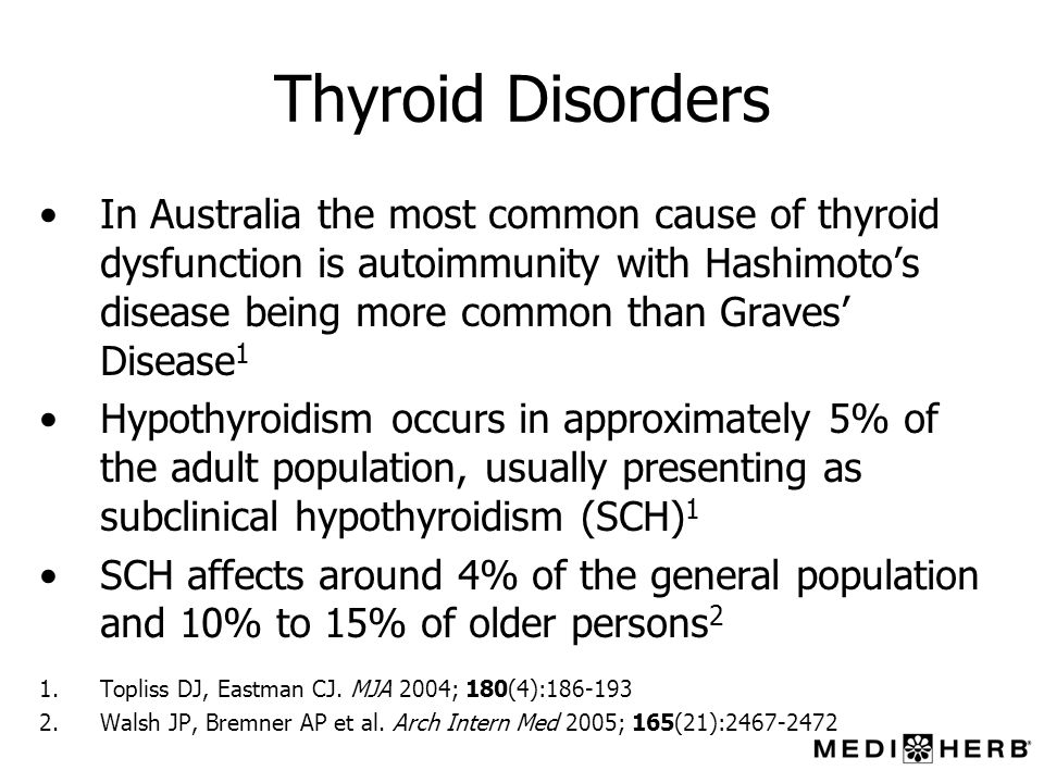 Thyroid Disorders In Australia the most common cause of thyroid dysfunction is autoimmunity with Hashimotos disease being more common than Graves Dise