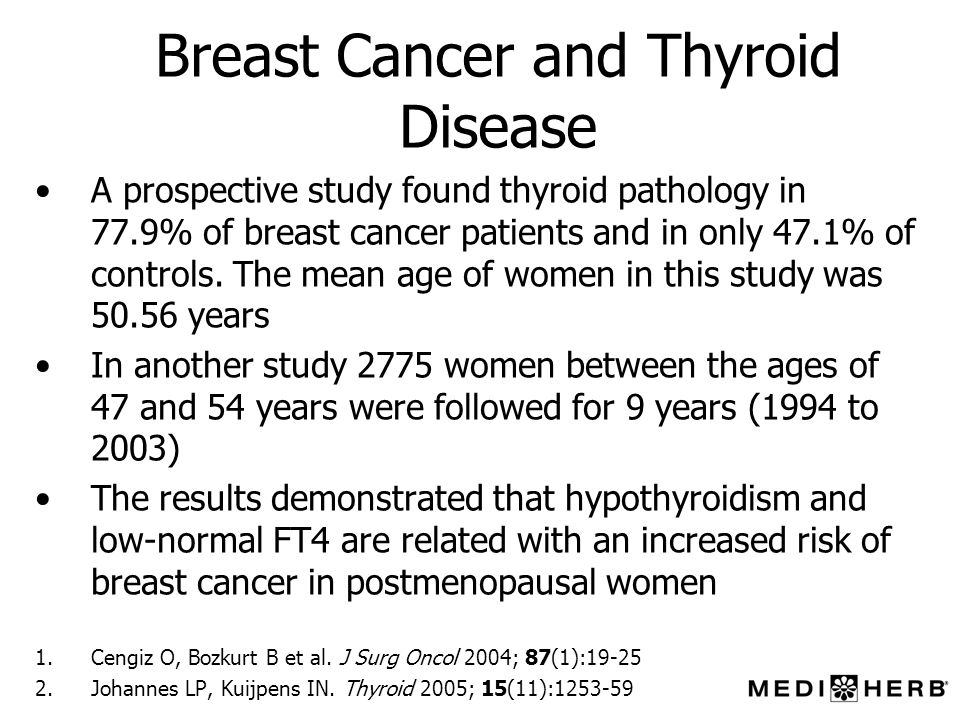 Breast Cancer and Thyroid Disease A prospective study found thyroid pathology in 77.9% of breast cancer patients and in only 47.1% of controls. The me