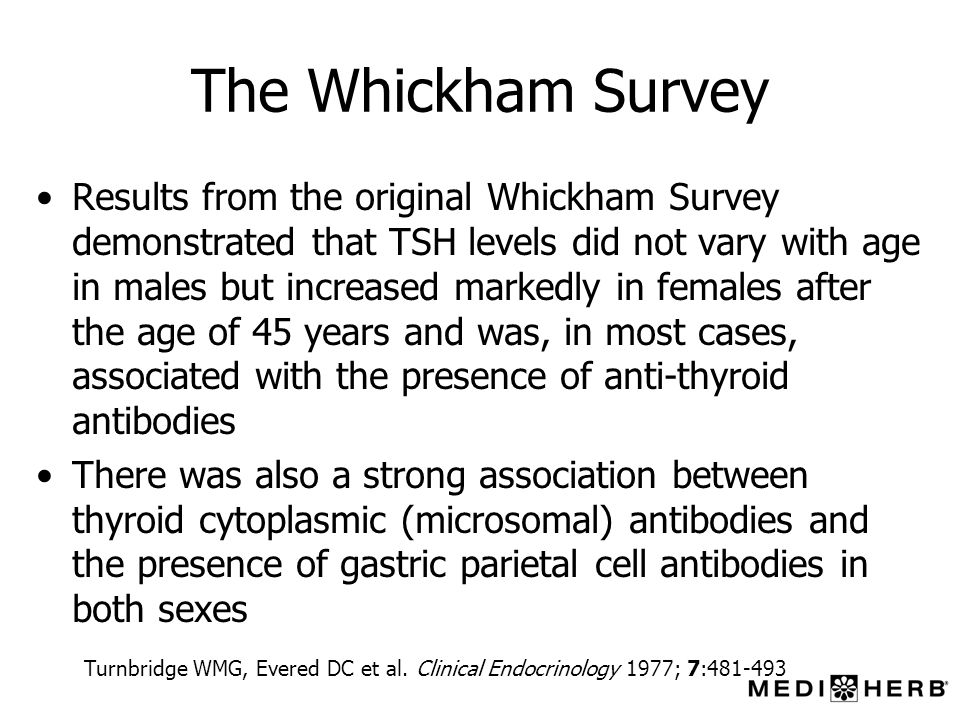 The Whickham Survey Results from the original Whickham Survey demonstrated that TSH levels did not vary with age in males but increased markedly in fe