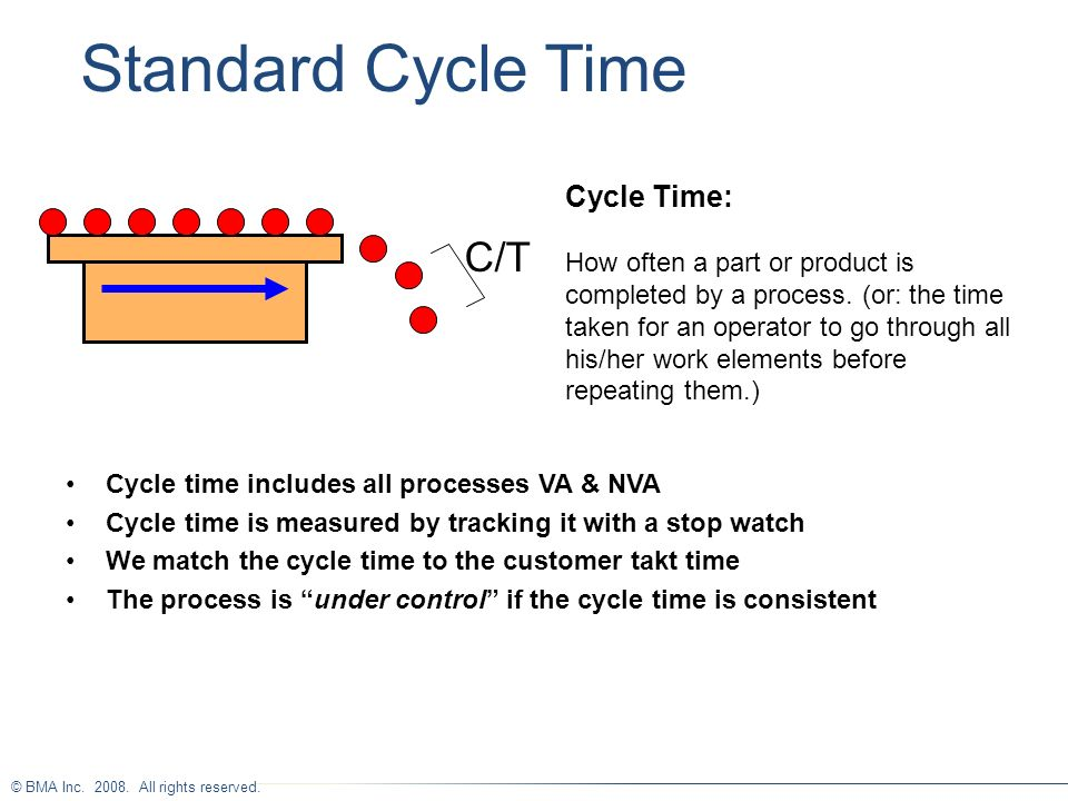© BMA Inc. 2008. All rights reserved. Cycle Time: How often a part or product is completed by a process. (or: the time taken for an operator to go thr