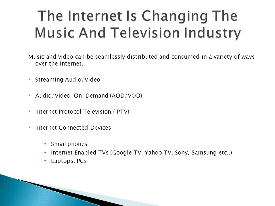 Music and video can be seamlessly distributed and consumed in a variety of ways over the internet. Streaming Audio/Video Audio/Video-On-Demand (AOD/VO