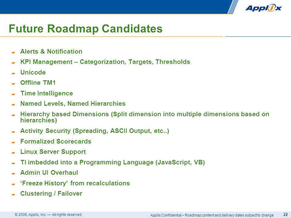 Applix Confidential – Roadmap content and delivery dates subject to change © 2006, Applix, Inc. All rights reserved. 22 Future Roadmap Candidates Aler