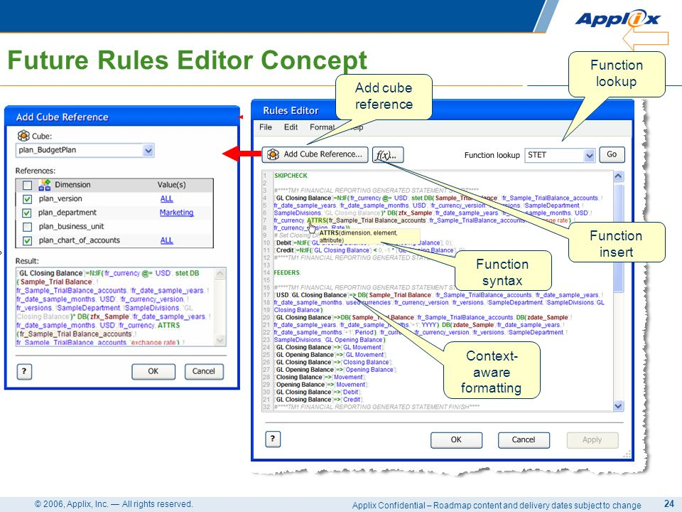 Applix Confidential – Roadmap content and delivery dates subject to change © 2006, Applix, Inc. All rights reserved. 24 Future Rules Editor Concept Ad
