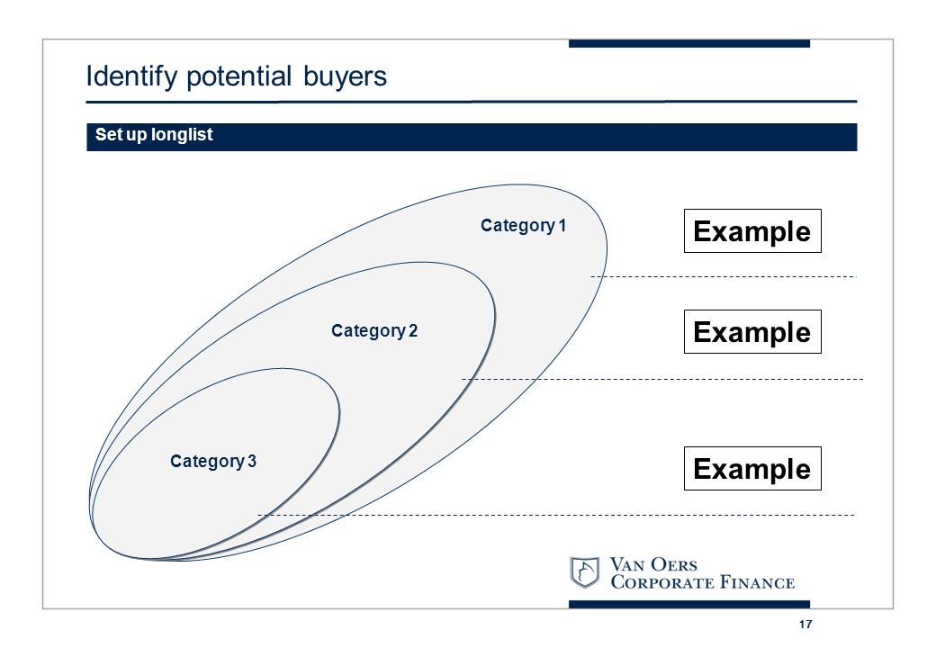17 Category 3 Category 2 Category 1 Set up longlist Example Identify potential buyers