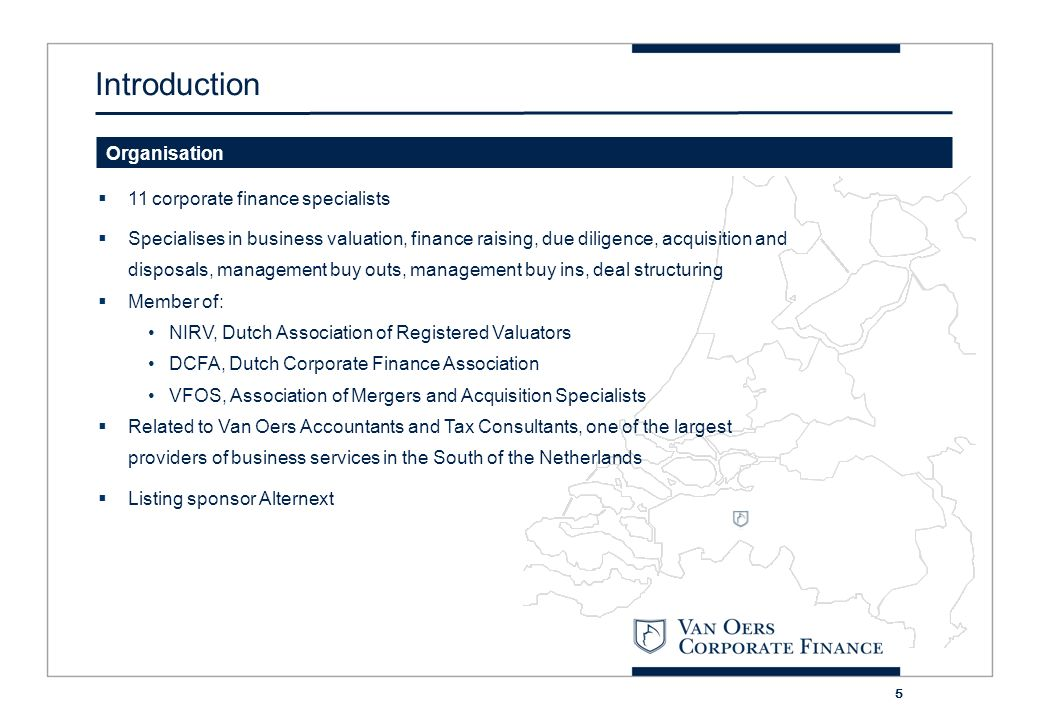 6 The corporate finance team Introductie Drs.