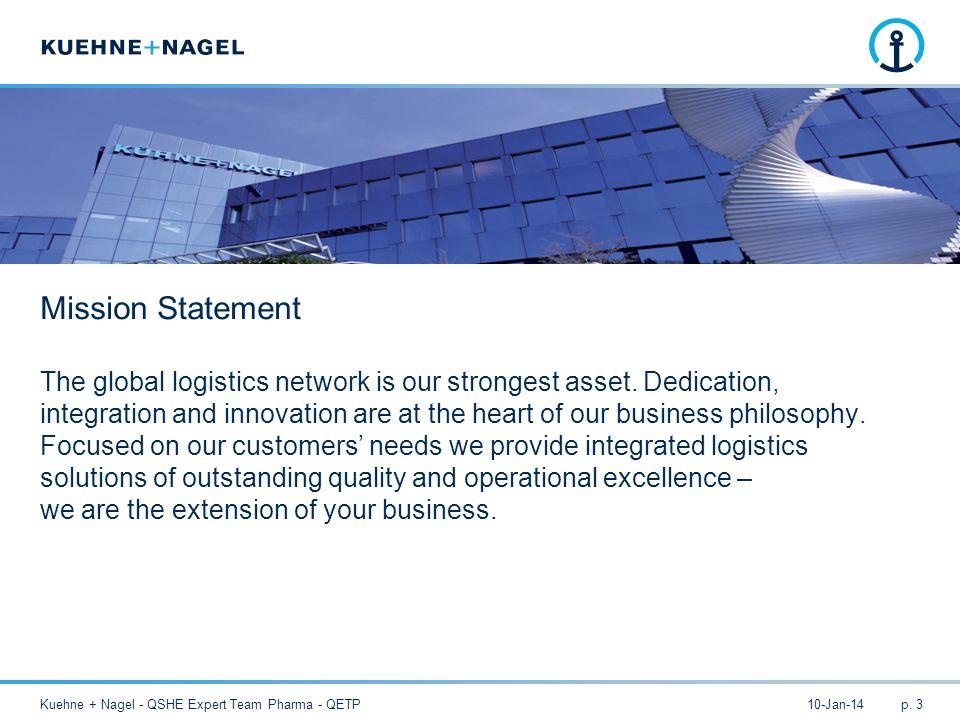 10-Jan-14Kuehne + Nagel - QSHE Expert Team Pharma - QETPp. 3 The global logistics network is our strongest asset. Dedication, integration and innovati