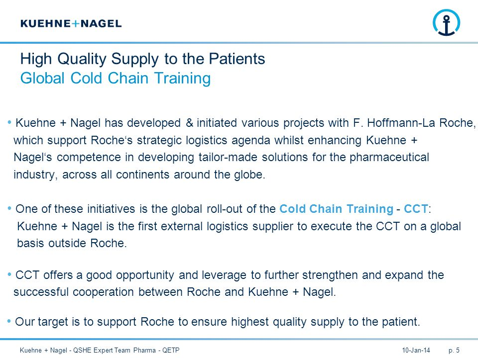 10-Jan-14Kuehne + Nagel - QSHE Expert Team Pharma - QETPp. 5 High Quality Supply to the Patients Global Cold Chain Training Kuehne + Nagel has develop