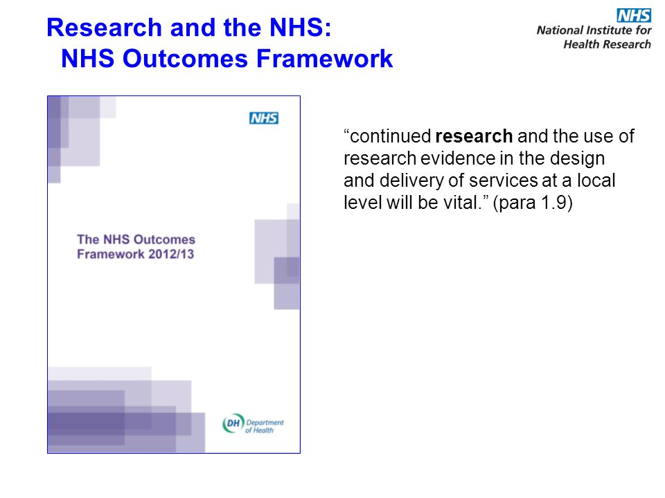 continued research and the use of research evidence in the design and delivery of services at a local level will be vital. (para 1.9) Research and the